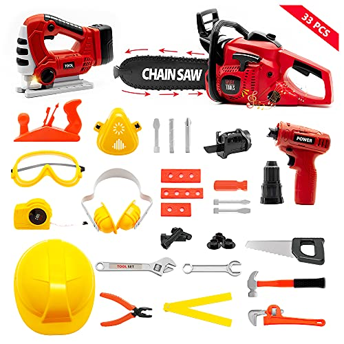 SMTAEMFB Kids Tool Set with Electric Toy Chainsaw Jigsaw Drill Handsaw Pretend Play Construction Tool Kit Playset Workshop Preschool Toys Gift for 3 4 5 6 7 Age Toddlers Kids Boys Girls