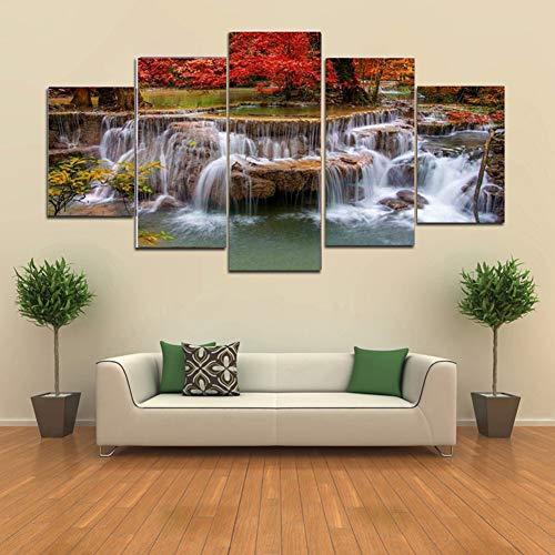 5 panelen canvas muur bos waterval kunstwerk schilderij, voor thuis moderne geweven canvas print decoratie cadeau, voor thuis leven,Without frame,20x35/45/55cm