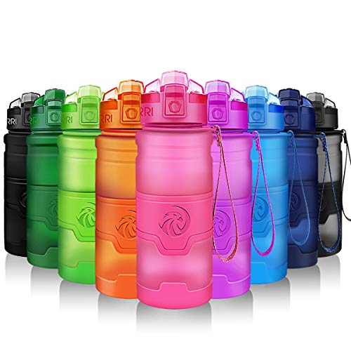 ZORRI Bouteille d'eau Plastique sans bpa Fitness Gourde Sport Ouvrir en 1 clic ,Rose ,380ml-14oz