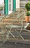 Dekoleidenschaft Metall-Stuhl Pfauenauge im Antik Design, Klappstuhl für Balkon, Terrasse, Garten