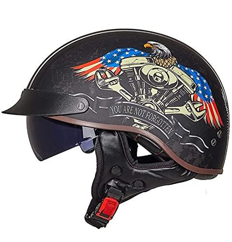 Cascos Moto Cascos Half-Helmet Abierto Medio Casco e Motocicleta Retro ECE Homologado con Visera Cascos Vintage Style Helmet Bici Viaje Crucero Scooter Bicicleta para Adultos Hombres Mujeres 10,M
