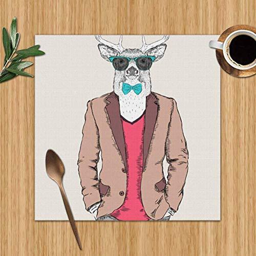 Surce placemats set met 4 jacks, hertenjurk, broek, pullover, voor personen, hittebestendige tafelkleden, wasbaar, voor keuken, eettafel, 12 x 12 inch