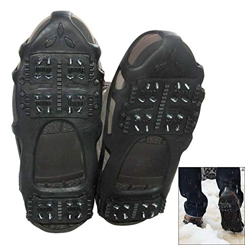 AGOOL Ice Cleats Snow Traction Cleats Crampon for Walking on Snow and Ice NonSlip Overshoe Rubber Anti Slip Crampons Slipon Stretch Footwear