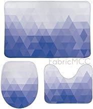 Bath Rugs for Bathroom Non-Slip Absorbent Bathroom Rug, Purple Azure Triangle Electric Blue Gradient-Color 3 Piece Bath Ma...