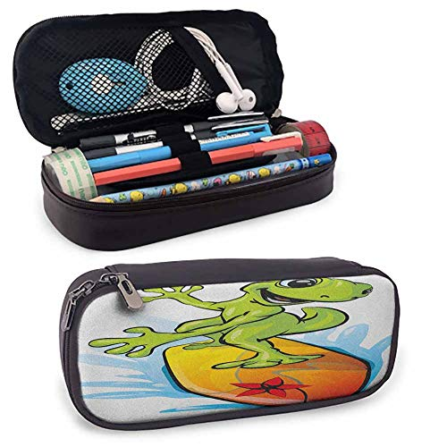 Ride The Wave Leather Carrying Case A Gecko Surfing with The Water Cute Animal Humor Cartoon Art Color Pencils Pouch8'x3.5'x1.5'Orange Lime Green Sky Blue