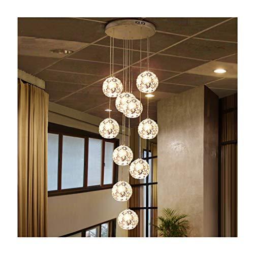 LJF Lampe . Moderna lámpara colgante de cristal, metal E27 x 12 cabezales, decoración de escalera, decoración de villa, hotel, cafetería, lámpara de techo