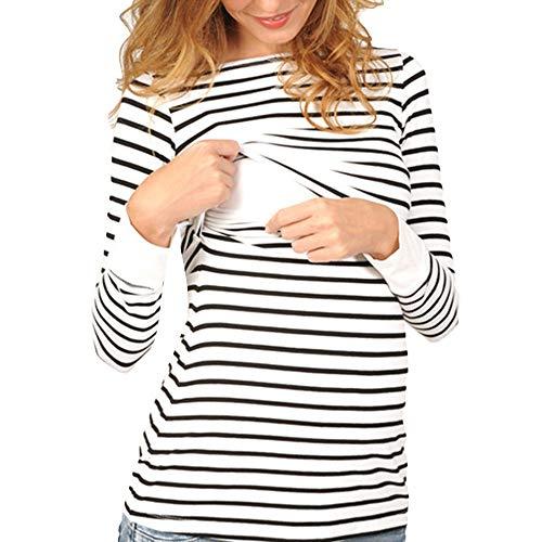 QinMM Blusas Manga Larga de Mujer Lactancia Ropa Embarazadas Otoño Invierno Basica Pullover Tops en Cuello Redondo Camisetas a Rayas