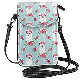 Suminla-Home Kleine Handybörse/Handtasche mit Blumenmuster und Llama Frühlingsfarben auf Babyblau Smartphone, Geldbörse mit abnehmbarem Gurt