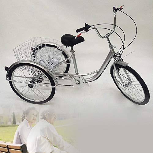 Triciclo para adultos, 3 bicicletas, para personas mayores, para adultos, con cesta y faro, 24 pulgadas, 3 ruedas, con cesta y luz, para personas mayores, compras, triciclo (plateado)