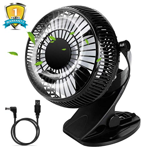 USB Desk Fan, Clip on Fan with Strong Wind and Adjustable Head, 2 Speeds Portable Cooling Fan USB Powered, Quiet Fan for Baby Stroller, Crib, Office
