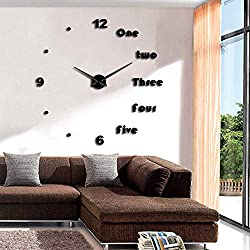 Wall Clock Modern 3D Large Creative DIY Acrylic Clocks Mute Mirror Stickers Numbers Letters Frameless Simple Clock Office Home Decor Gift