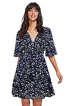Milumia Women s Boho Button Up Split Floral Print Flowy Party Dress Multicolor Navy Medium