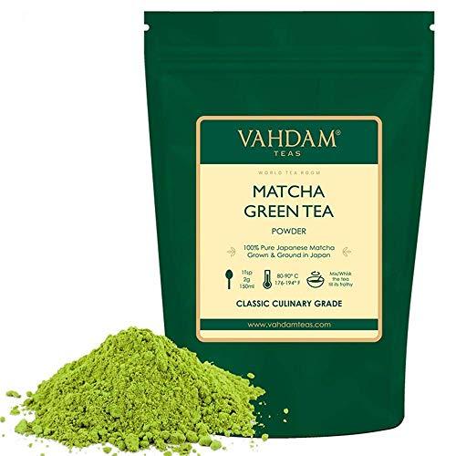 VAHDAM, Matcha Tee Pulver | 100% REINE japanische Herkunft Matcha Tee Pulver | 137x ANTI-OXIDANTEN | Energie-, Fokus- & Stoffwechsel-Booster | Grüner Tee für Gewichtsverlust | Japans SUPER FOOD | 50g
