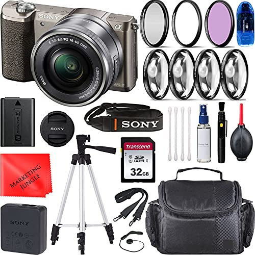 Sony Alpha a5100 Mirrorless Digital Camera with 16-50mm Lens (Brown) Bundle, Starter Kit + Accessories(Memory Card, Cleaning Kit, 50' Tripod, Gadget Bag)
