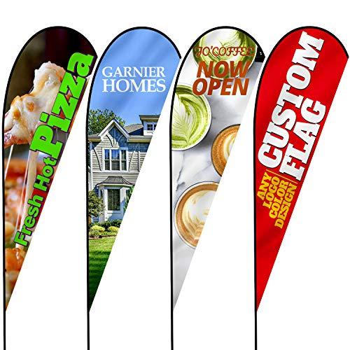 Anley benutzerdefinierte Werbung Teardrop Flagge 3 X 7,5 Ft doppelseitig - drucken Sie Ihr eigenes Logo/Design/Worte - Indoor & Outdoor Werbebanner Fahnen (nur Flagge)