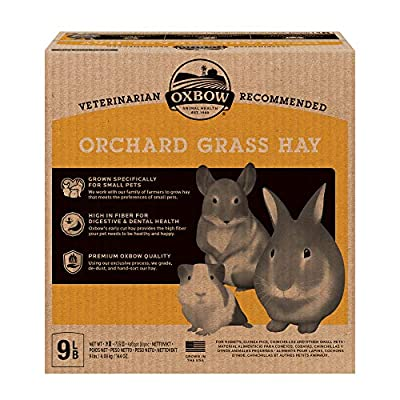 Oxbow Animal Health Orchard Grass Hay - All Natural Grass Hay for Chinchillas, Rabbits, Guinea Pigs, Hamsters & Gerbils - 9 lb. by Oxbow Animal Health LLC