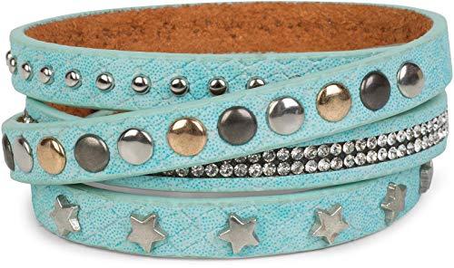 styleBREAKER Wickelarmband mit Strass, verschiedenen Nieten und Sterne, Armband, Damen 05040029, Farbe:Türkis