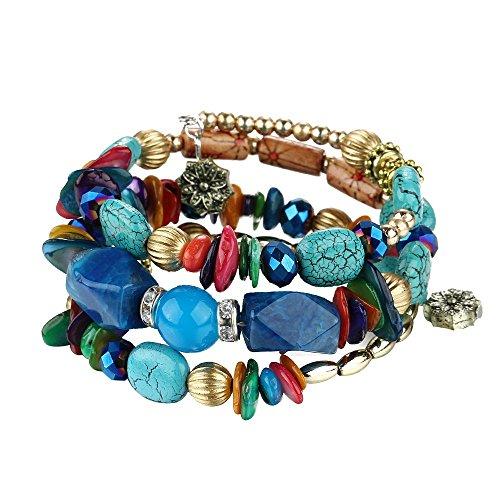 Onefeart Braccialetto per Le Donne Ragazze Taglio Speciale Agata Multistrato Avvolgimento Design Bracelets 21CM Colorato