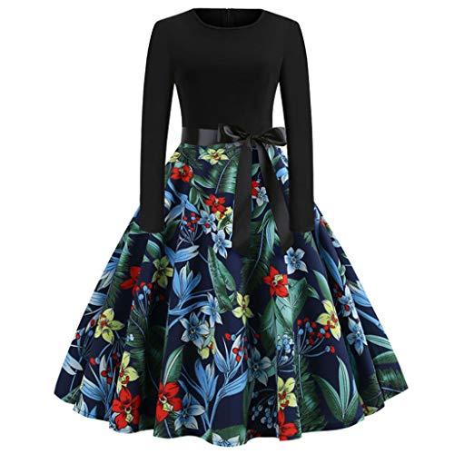 Longra Audrey Hepburn vintage jurk dames meisjes lange mouwen bohemian print jurk dames chique avondjurk cocktail retro klassiek dames swing jurk elegant origineel