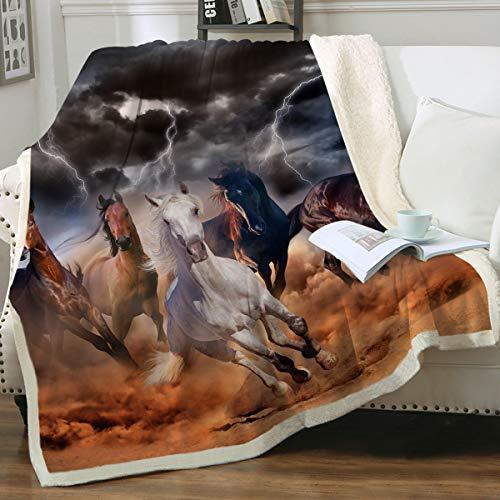 Sleepwish Galloping Horse Blanket for Girls Cowboy Western Fleece Blanket Plush Sherpa Throw Blanket for Couch Sofa Coworker (Throw 50  x 60 )