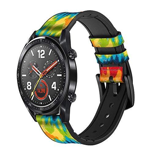 Innovedesire Tie Dye Correa de Reloj Inteligente de Cuero y Silicona para Wristwatch Smartwatch Smart Watch Tamaño (20mm)