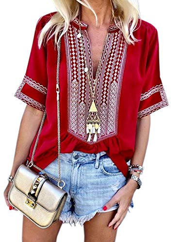 FARYSAYS Women's Ladies Tops Sexy Elegant Bohemian Print Short Sleeve V Neck Summer Casual Blouse Shirts Red Large