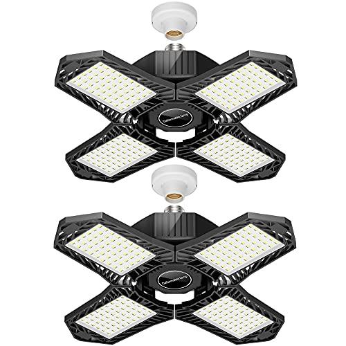 LED Garage Lights, ATUPEN 200W 20000LM Bright Garage Ceiling Lights, 6500K 384Pcs LED Shop Light with Adjustable 4 Panels,E26/E27 Workshop Lighting Fixtures for Barn Basement(2 Pack)