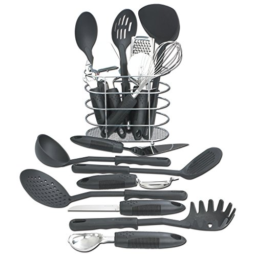 Maxam KTOOL172 17 Piece Kitchen Tool Set, Black