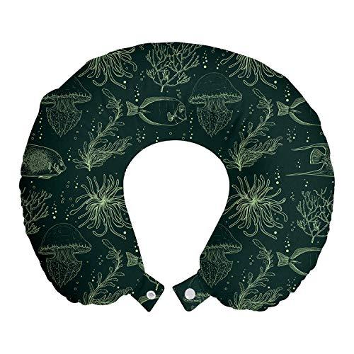 ABAKUHAUS Nautisch Reisekissen Nackenstütze, Fische Pflanzen und Quallen, Schaumstoff Reiseartikel für Flugzeug und Auto, 30x30 cm, Reseda Grün Grün