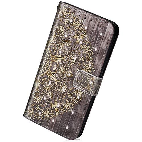 Herbests Kompatibel mit Samsung Galaxy S10 Hülle Leder Tasche 3D Bunt Glitzer Glänzende Schutzhülle Flip Wallet Cover Handyhülle Handytasche Ständer Kartenfächer,Gold Mandala Blumen