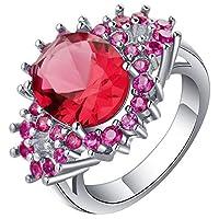 JK Home 指輪 リング 婚約指輪 レディース オシャレ 華奢 ファッション 彼女 プレゼント ジルコニア シルバー+レッド+パープル約19号