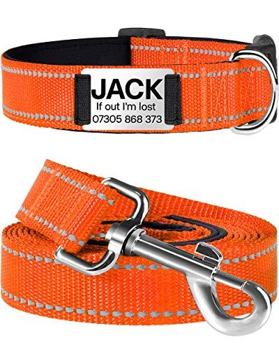 TagME Personalised Dog Collar and Lead Set,Reflective Padded Nylon Dog Collars with 6 Feet Dog Leash,Medium Orange
