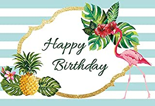 Laeacco Blue and White Striped Backdrops 5x3ft Happy Birthday Banner Pink Flamingo Summer Tropical Leaves Fruits Pineapple Sumemr Party Decoration Birthday Party Decor Photography Background
