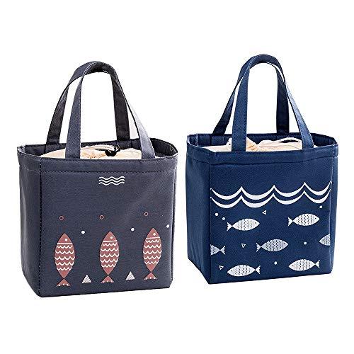 Pack de 2 Bolsas de Almuerzo Aisladas gran Capacidad Impermeable Bolsa de la Compra Portátil Aislante Cálido y Frío Lámina de Aluminio para Mujeres Pícnic Playa