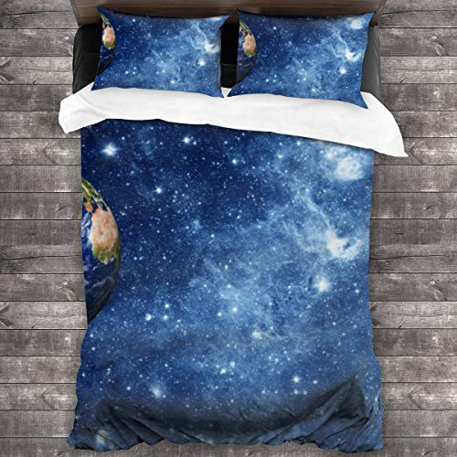 LiBei Duvet Cover Set 3 PCS,Elements Of Planet Earth In This Image Are Provided By Nasa,Bedding Duvet Cover with 2 Pillowcases(Double 200x200cm)