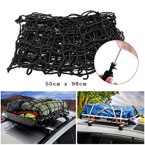 "22""x38"" Bungee Cargo Net Stretches to 44""x76"", Super Duty Cargo Nets with 12 Adjustable Hooks, Small 2""x2"" Mesh Holds Small and Large Loads Tighter, for Rooftop Cargo Carrier, ATV, UTV, Cargo Hitch"