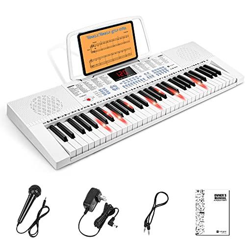 Vangoa Teclado de Piano Eléctrico 61 Mini Teclas Iluminada Digitales Teclado Piano con micrófono, 3 modos de enseñanza, 350 tonos, 350 ritmos, 30 canciones de demostración, Blanco