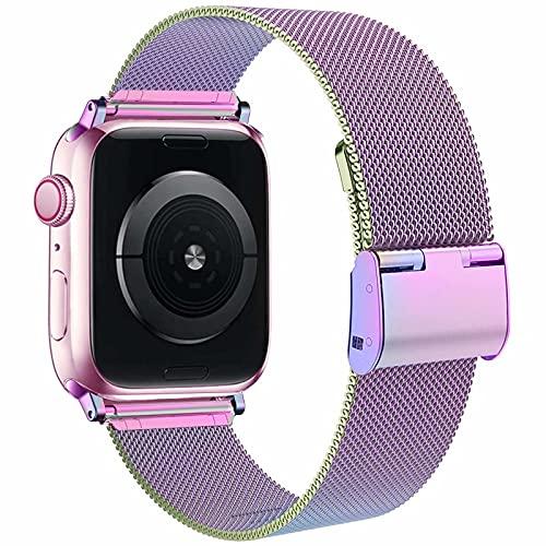 Correa Fengyiyuda compatible con Apple Watch correa 38 mm 42 mm 40 mm 44 mm para mujeres hombres, bandas de metal de acero inoxidable con hebillas ajustables para Iwatch Series SE/6/5/4/3/2/1