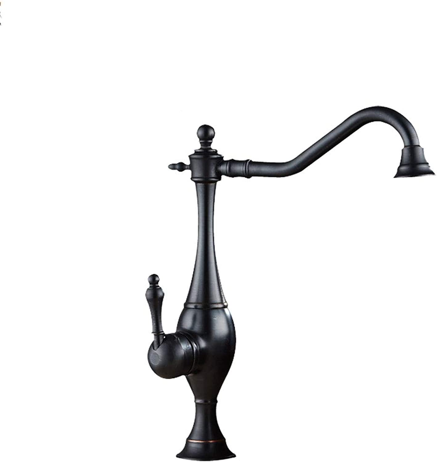 CHX Copper Antique Faucet Above Counter Basin Heighten Basin Hot And Cold Water Black Black Bronze CHXSF (color   BLACK)