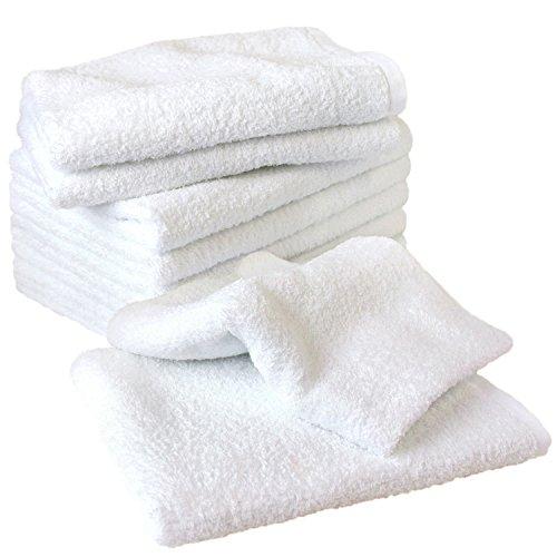 泉州タオル 日本製 フェイスタオル 260匁 10枚セット 綿100% 業務用タオル ホワイト 白タオル 瞬間吸水 速乾 軽量薄手 部屋干し 耐久性 無地