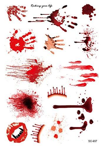 Bigood 5pcs Halloween Zombie Cicatrices Papier Tatouage Temporaire Déguisement Maquillage 150*105mm Style C