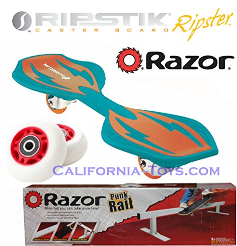 Green/Orange Brights Razor Ripster Castor Board with PUNK RAIL & Extra Set of 68mm Red RIPSTER Replacement Wheels - Mini Ripstik