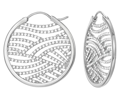 ESPRIT Damen-Ohrhänger JW50236 Creolen rhodiniert Glas weiß - ESCO01965A000