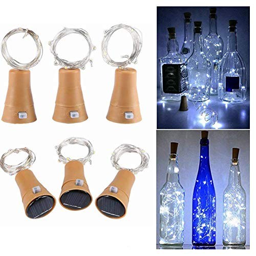Toifucos Solar Wine Bottle Lights, 6 Pack 20 LED Waterproof Copper Cork Shaped Lights Firefly String Lights for DIY Wedding Party Outdoor, Holiday, Garden, Patio Pathway Decor, White