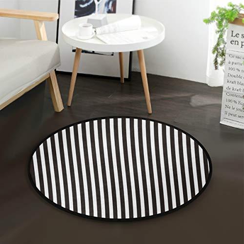 Mnsruu - Alfombra redonda de rayas negras y blancas, antideslizante, cómoda, redonda, para sala de estar, dormitorio, 92 cm de diámetro
