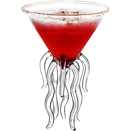 GROOMY Glasbecher Octopus Cocktailglas Transparente Qualle Glas Tasse Saft Glas