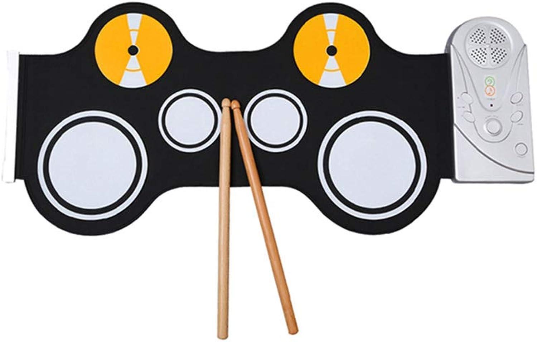 LIUFS-Trommel Handrolle Elektronische Trommel Tragbare Falten Jazz Drum Game Mit Horn Früherziehung Aufklrung Simulation Praxis Praxis (Farbe   SCHWARZ)