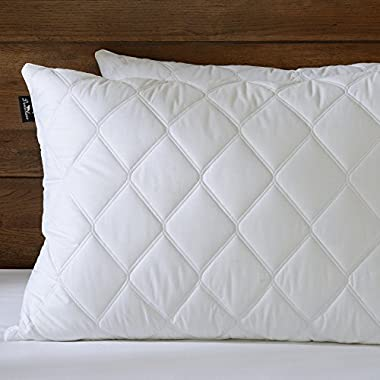 downluxe Set of 2, Quilted Down and Feather Pillows for sleeping(Queen,20x28) 100% Cotton Cover with ULTRA FRESH Treatment,Dust Mite Resistant & Hypoallergenic - Suprior Quality Bed Pillows