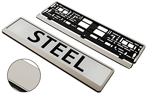 A PAIR (2x) STEEL APPEARANCE Superb Quality Car Registration License Number Plate UNIVERSAL Surrounds Holders Frames - BARGAIN!