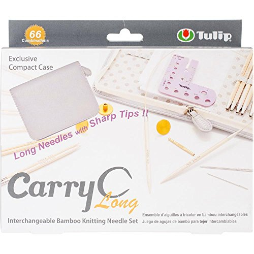 CarryC Long Interchangeable Circular Bamboo Knitting Needles